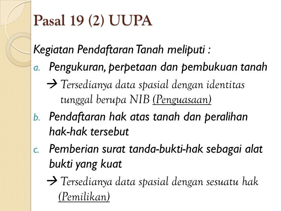 Pasal 19 (2) UUPA Kegiatan Pendaftaran Tanah meliputi :