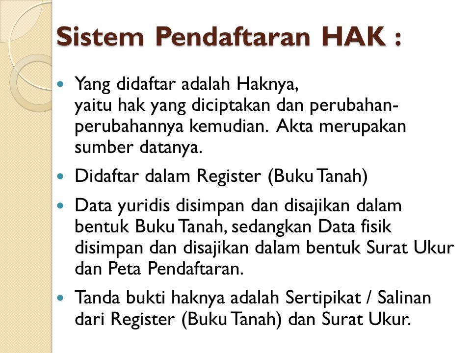 Sistem Pendaftaran HAK :