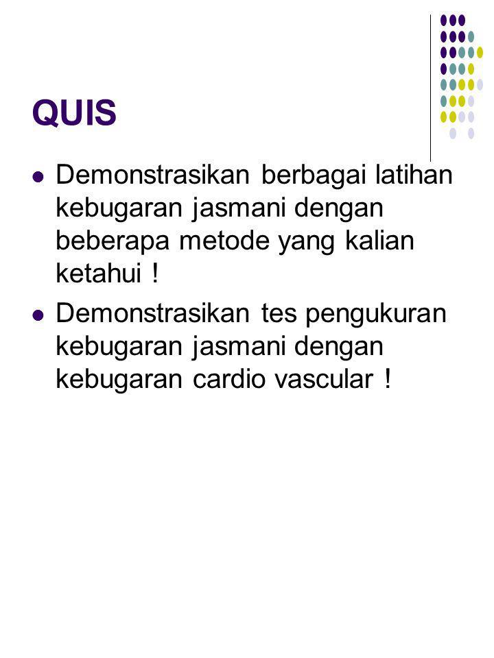 QUIS Demonstrasikan berbagai latihan kebugaran jasmani dengan beberapa metode yang kalian ketahui !
