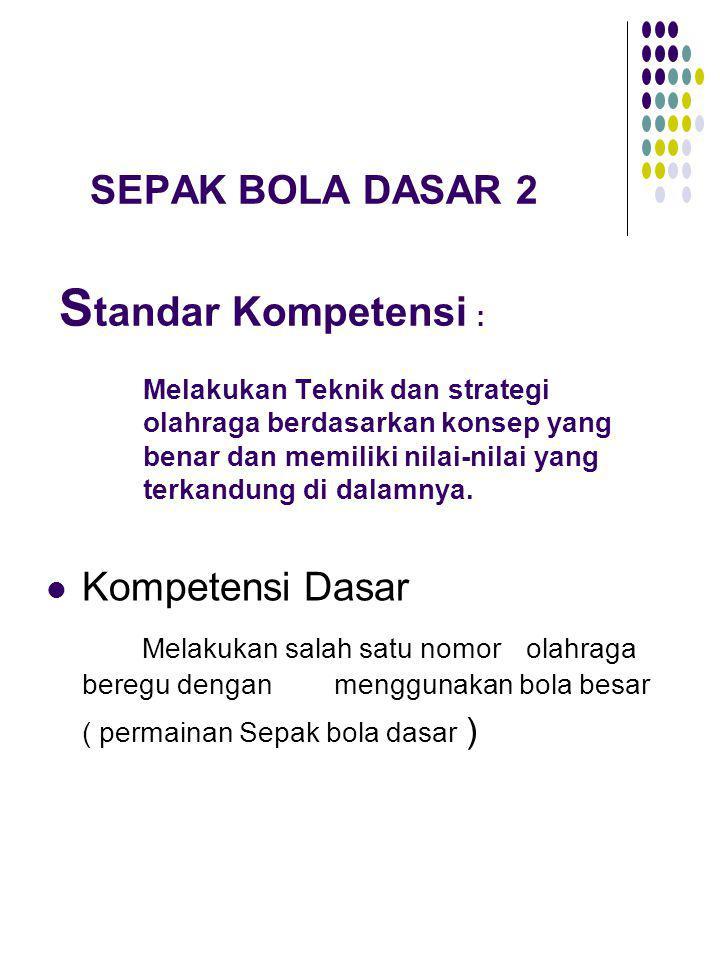 SEPAK BOLA DASAR 2 Standar Kompetensi :. Melakukan Teknik dan strategi