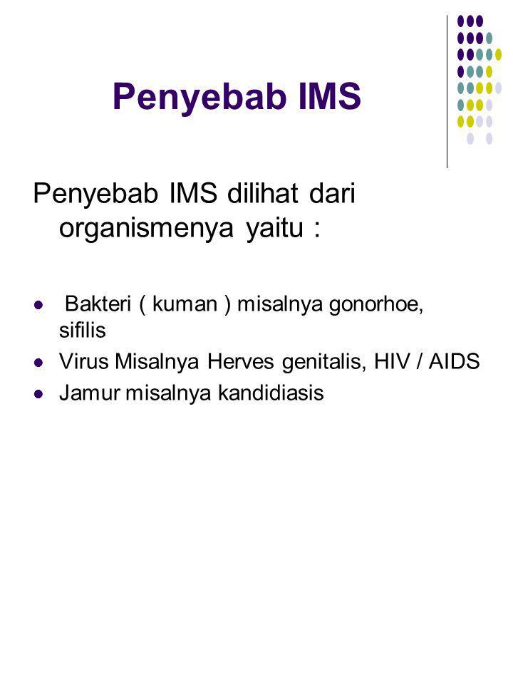 Penyebab IMS Penyebab IMS dilihat dari organismenya yaitu :