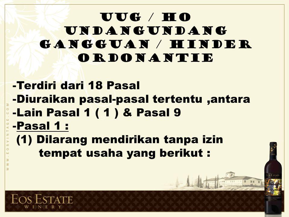 UNDANGUNDANG GANGGUAN / HINDER ORDONANTIE
