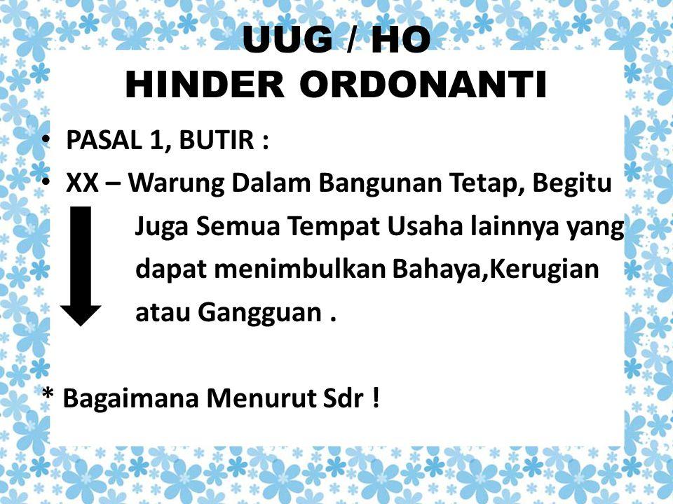 UUG / HO HINDER ORDONANTI