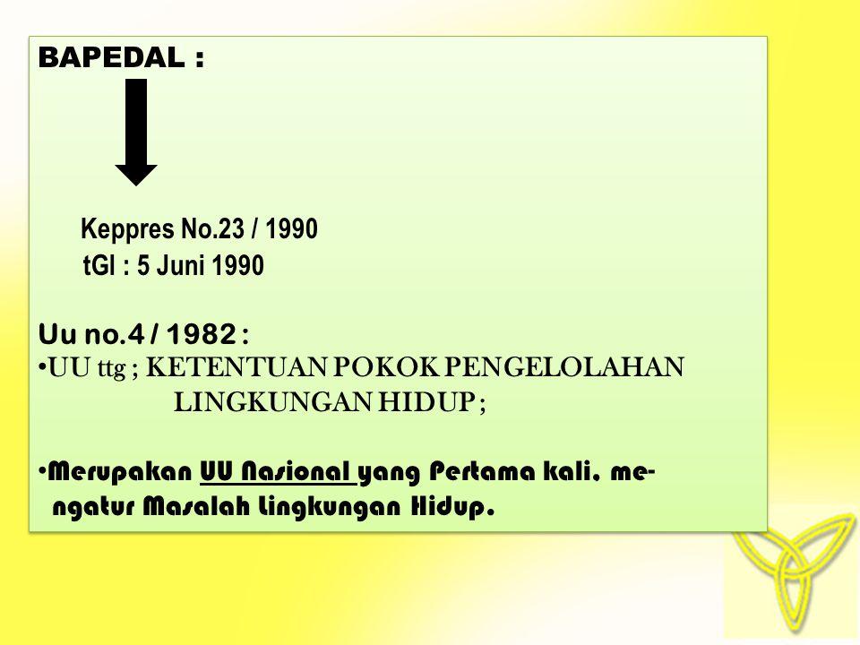 BAPEDAL : Keppres No.23 / 1990. tGl : 5 Juni 1990. Uu no.4 / 1982 : UU ttg ; KETENTUAN POKOK PENGELOLAHAN.