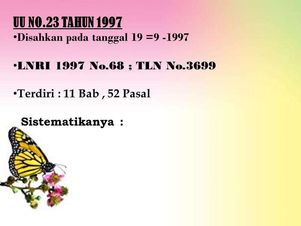 UU NO.23 TAHUN 1997 Disahkan pada tanggal 19 =9 -1997