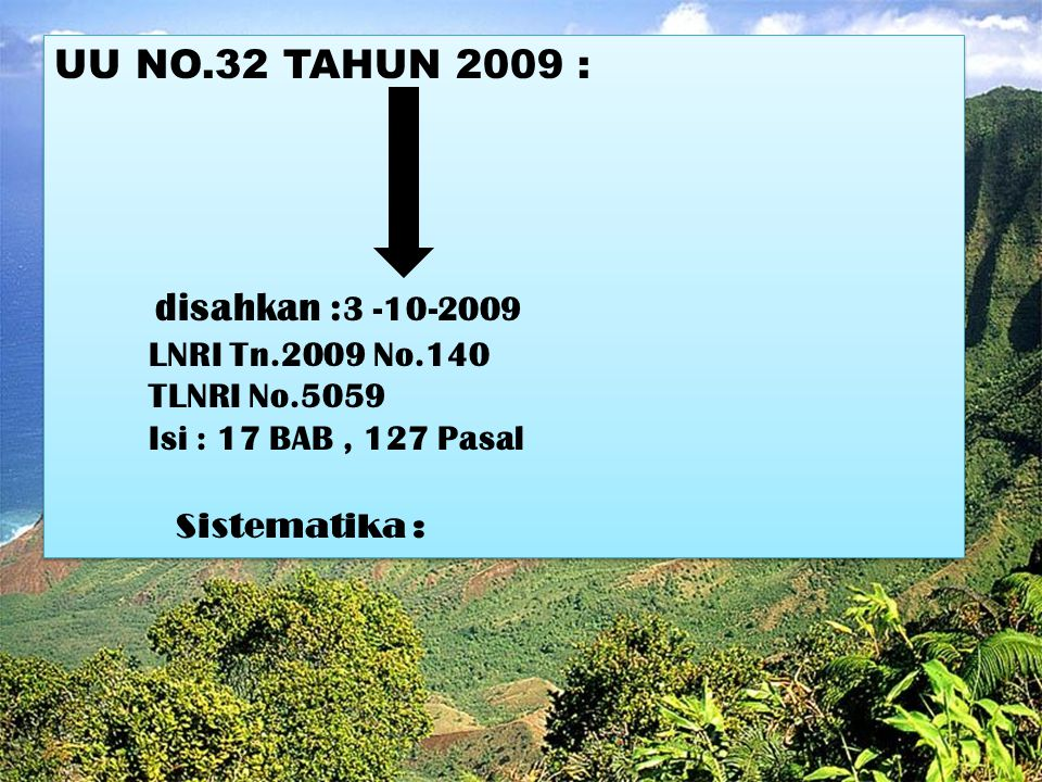 UU NO.32 TAHUN 2009 : disahkan :3 -10-2009 LNRI Tn.2009 No.140