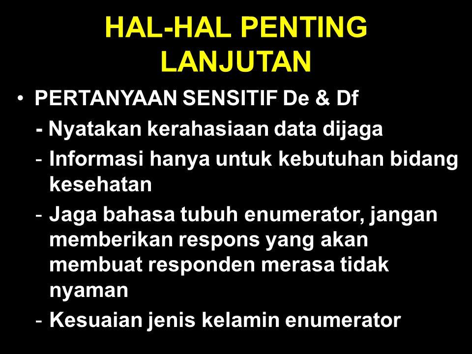 HAL-HAL PENTING LANJUTAN