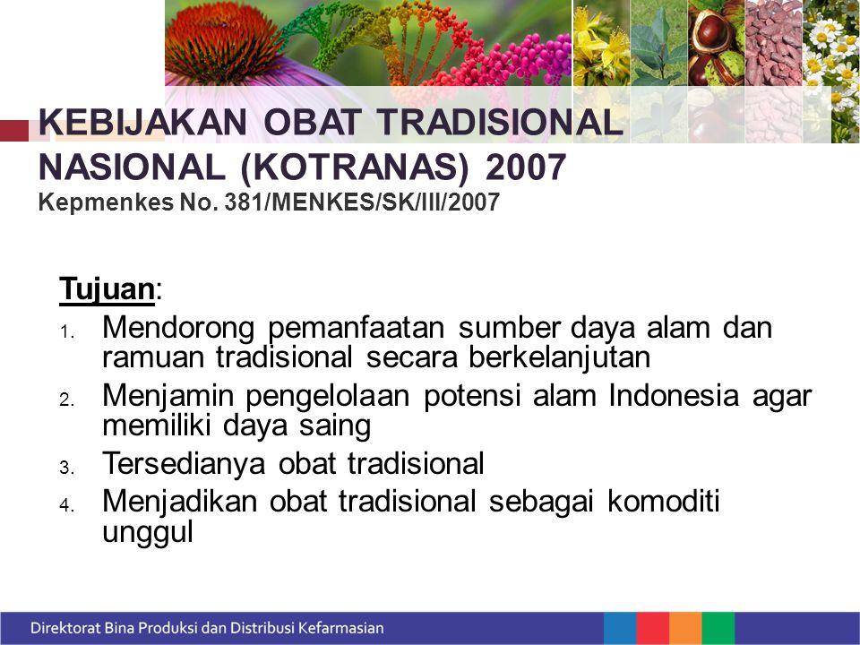 KEBIJAKAN OBAT TRADISIONAL NASIONAL (KOTRANAS) 2007 Kepmenkes No