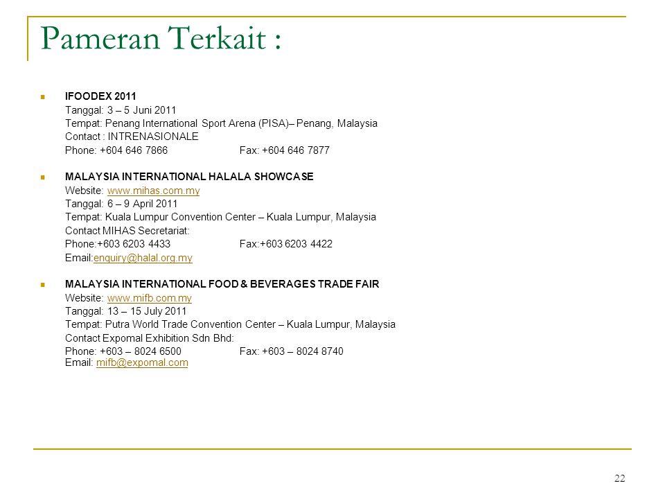 Pameran Terkait : IFOODEX 2011 Tanggal: 3 – 5 Juni 2011