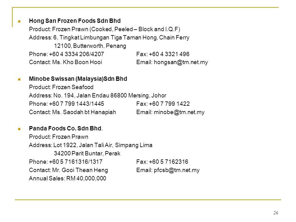 Hong San Frozen Foods Sdn Bhd