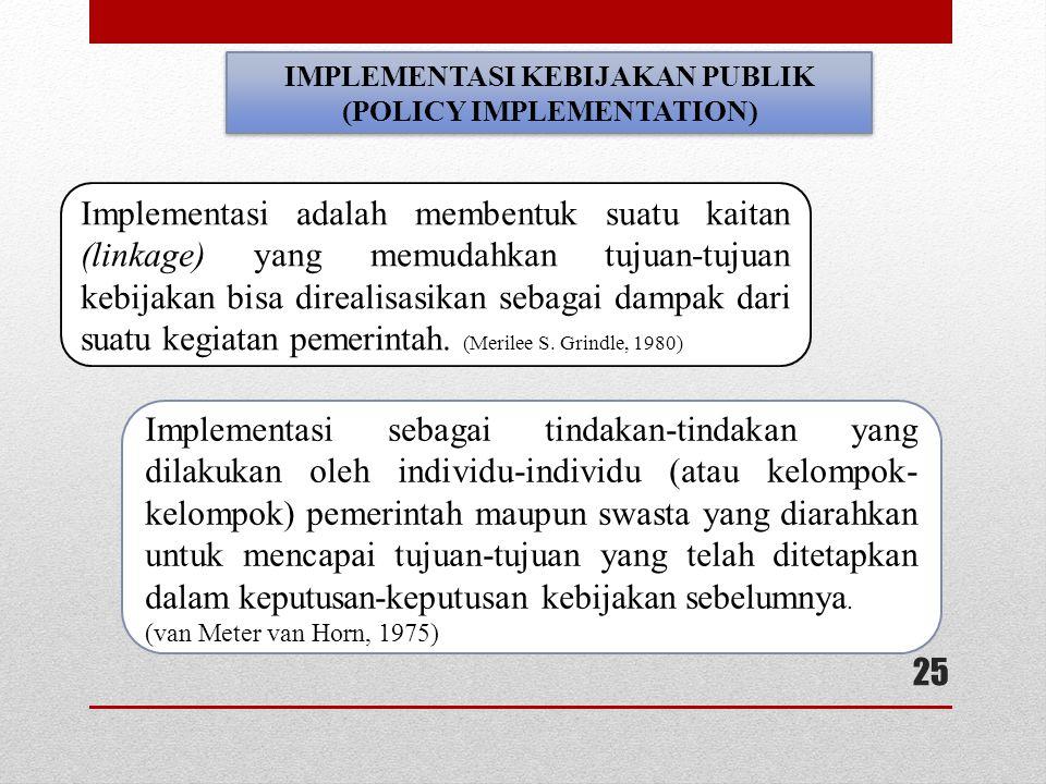 IMPLEMENTASI KEBIJAKAN PUBLIK (POLICY IMPLEMENTATION)