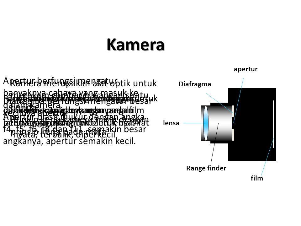 Kamera apertur. Apertur berfungsi mengatur banyaknya cahaya yang masuk ke dalam kamera.