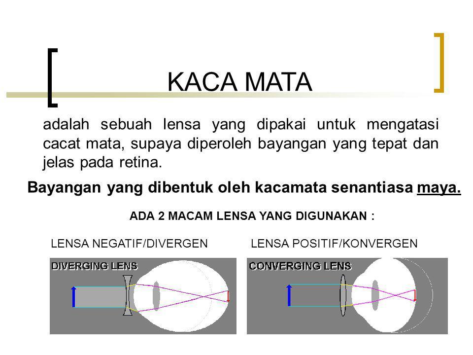KACA MATA adalah sebuah lensa yang dipakai untuk mengatasi cacat mata, supaya diperoleh bayangan yang tepat dan jelas pada retina.