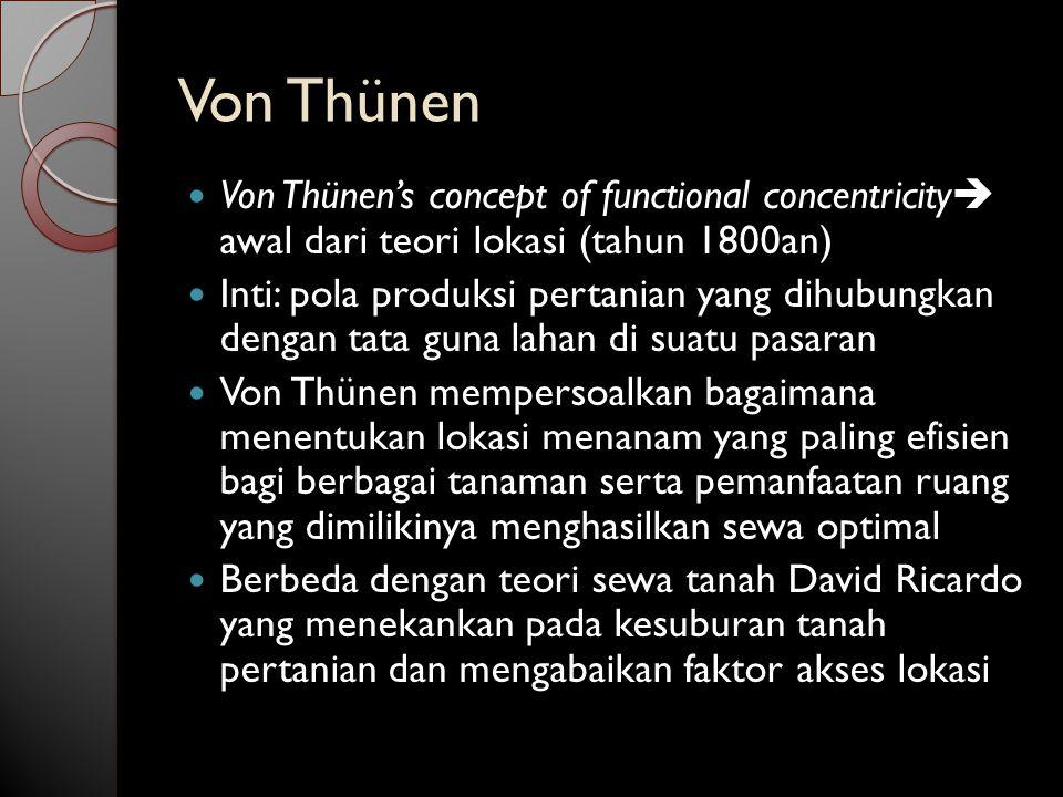 Von Thünen Von Thünen's concept of functional concentricity awal dari teori lokasi (tahun 1800an)