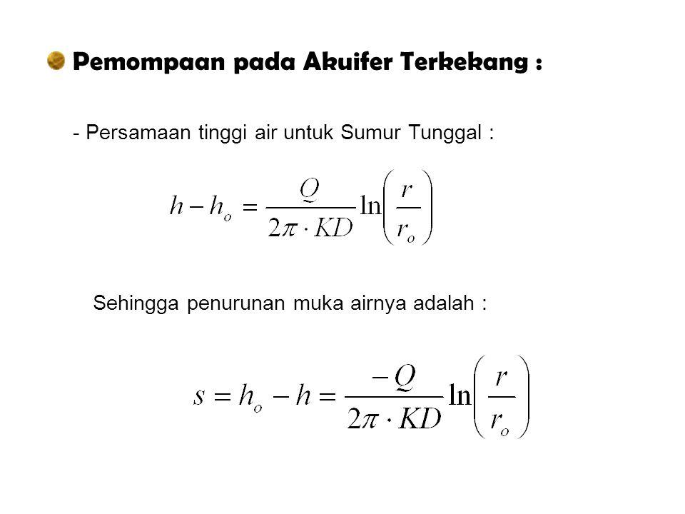 Pemompaan pada Akuifer Terkekang :