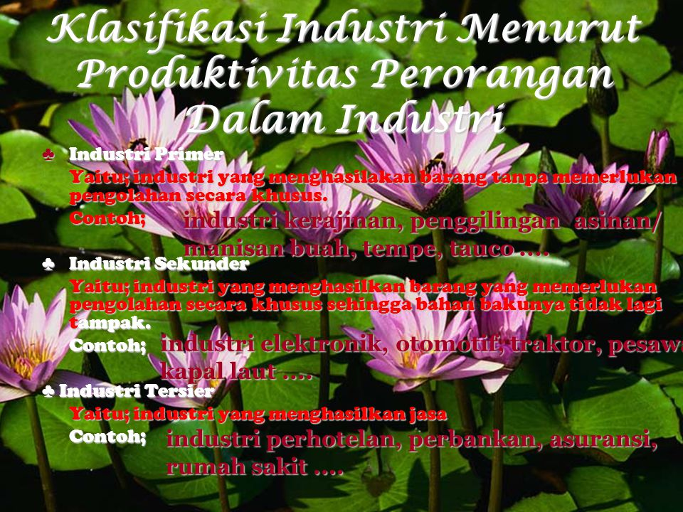Klasifikasi Industri Menurut Produktivitas Perorangan Dalam Industri