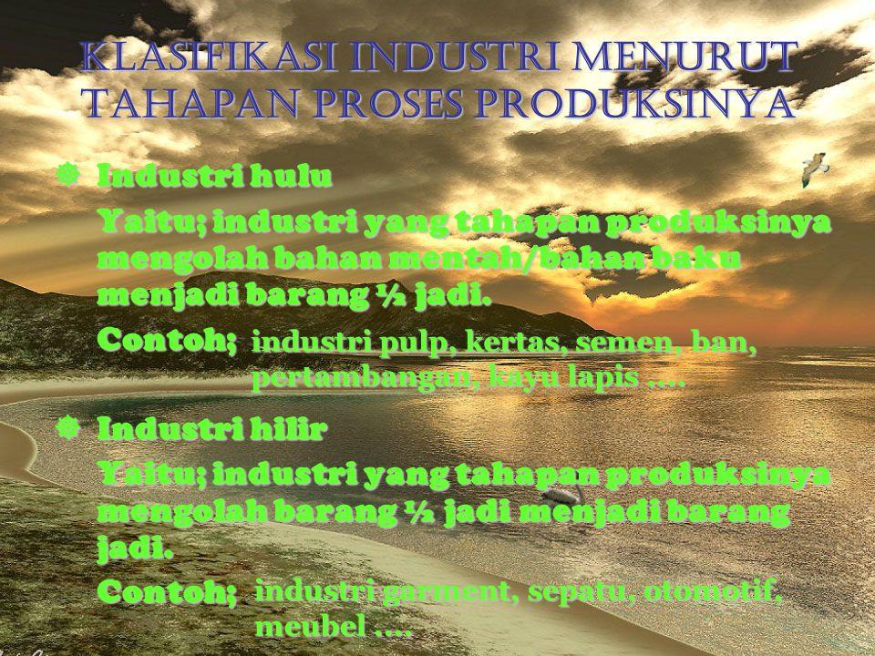 Klasifikasi Industri Menurut Tahapan Proses Produksinya