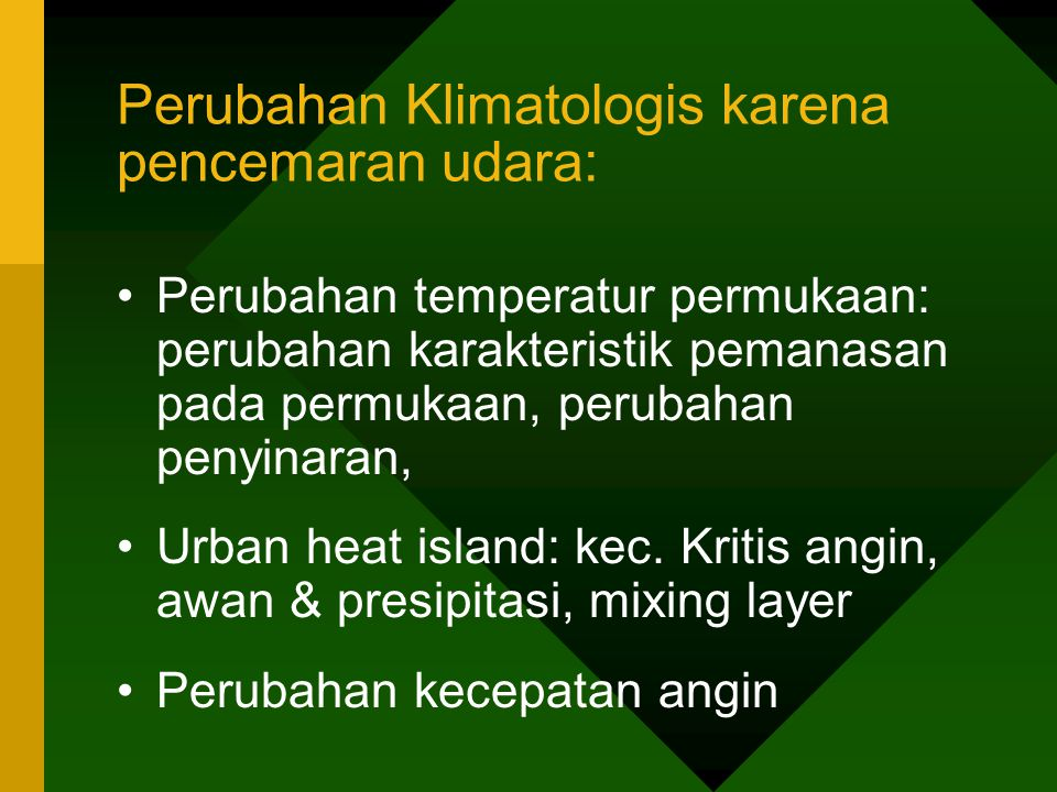 Perubahan Klimatologis karena pencemaran udara: