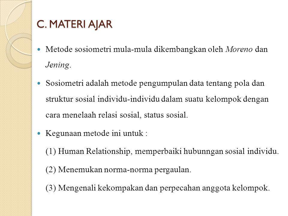 C. MATERI AJAR Metode sosiometri mula-mula dikembangkan oleh Moreno dan Jening.