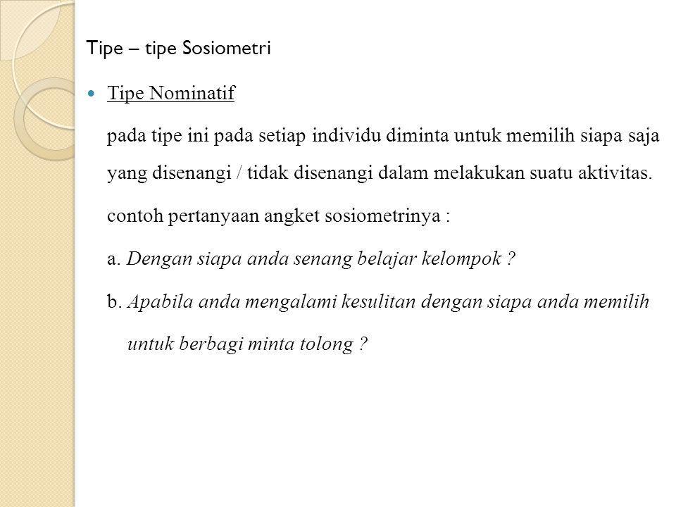Tipe – tipe Sosiometri Tipe Nominatif.