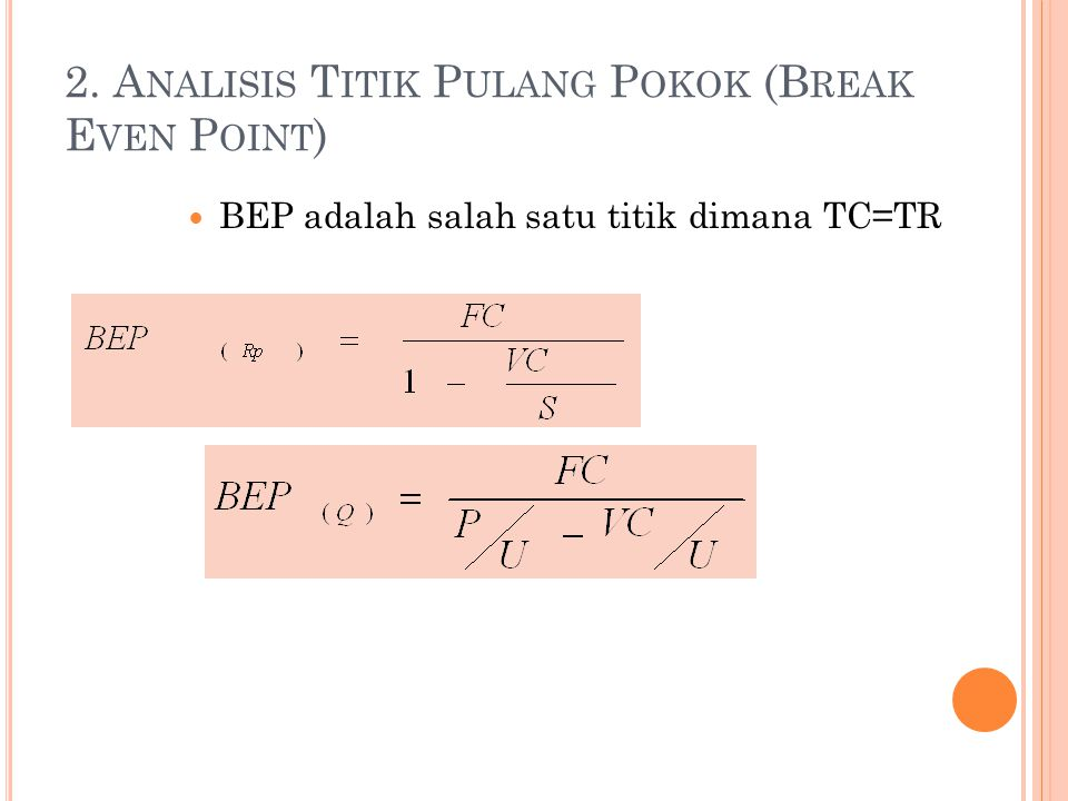 2. Analisis Titik Pulang Pokok (Break Even Point)