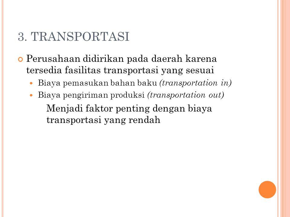 3. TRANSPORTASI Perusahaan didirikan pada daerah karena tersedia fasilitas transportasi yang sesuai.