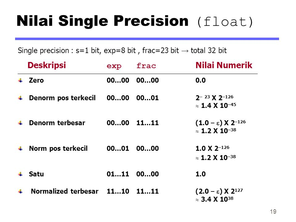 Nilai Single Precision (float)