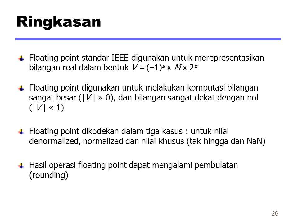 Ringkasan Floating point standar IEEE digunakan untuk merepresentasikan bilangan real dalam bentuk V = (–1)s x M x 2E.