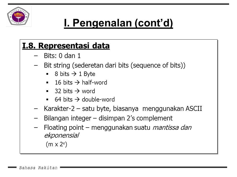 I. Pengenalan (cont'd) I.8. Representasi data Bits: 0 dan 1