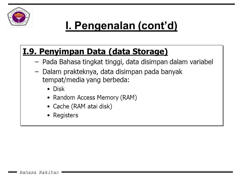 I. Pengenalan (cont'd) I.9. Penyimpan Data (data Storage)