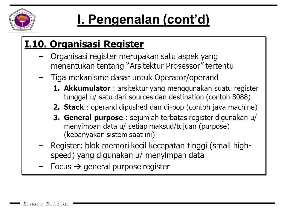 I. Pengenalan (cont'd) I.10. Organisasi Register
