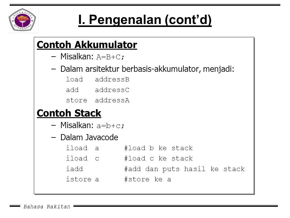 I. Pengenalan (cont'd) Contoh Akkumulator Contoh Stack