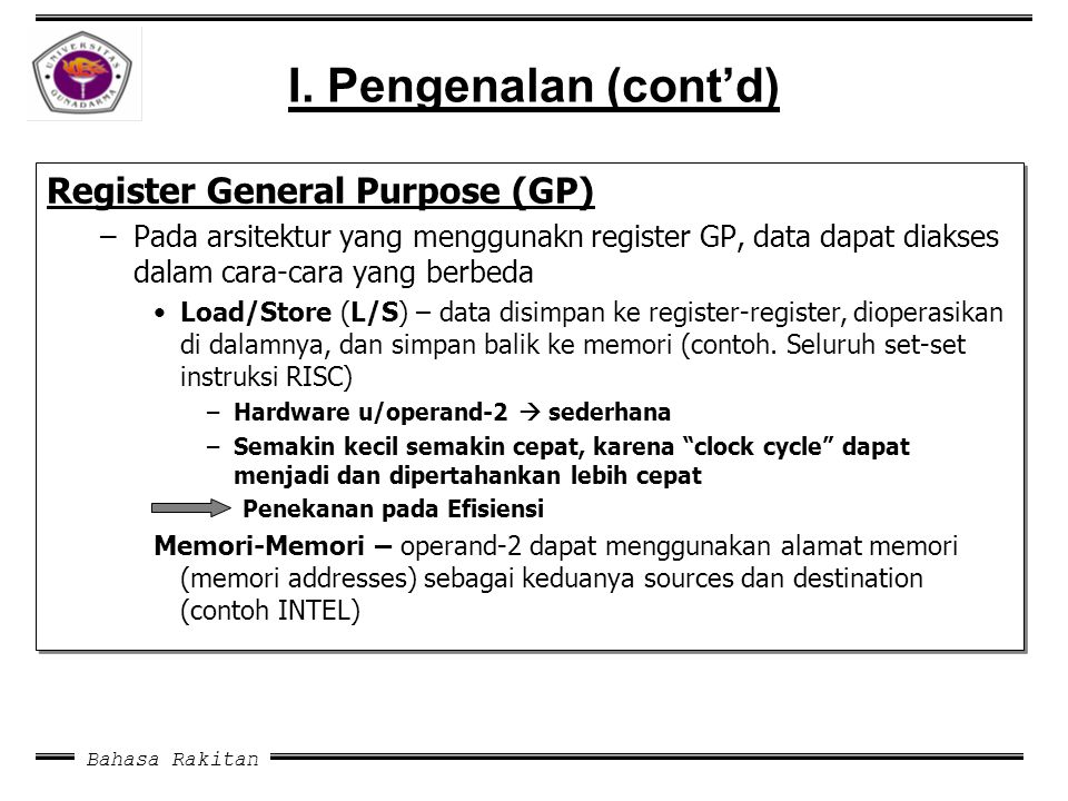 I. Pengenalan (cont'd) Register General Purpose (GP)