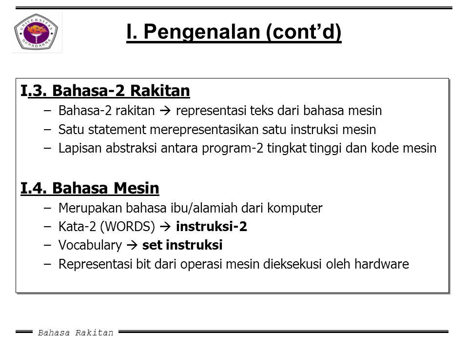 I. Pengenalan (cont'd) I.3. Bahasa-2 Rakitan I.4. Bahasa Mesin