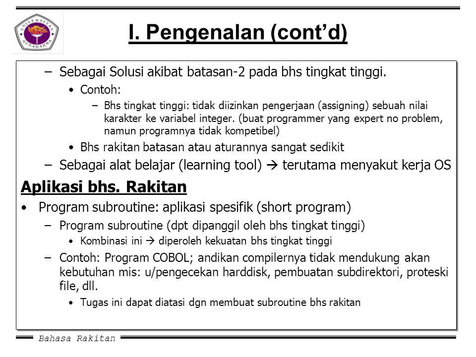 I. Pengenalan (cont'd) Aplikasi bhs. Rakitan