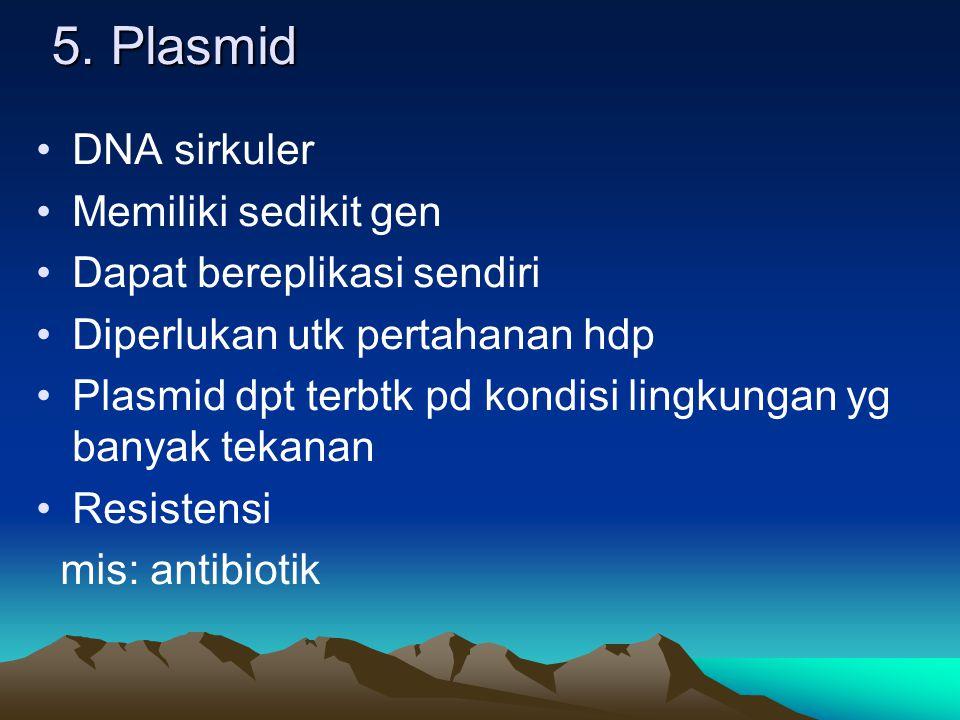 5. Plasmid DNA sirkuler Memiliki sedikit gen Dapat bereplikasi sendiri