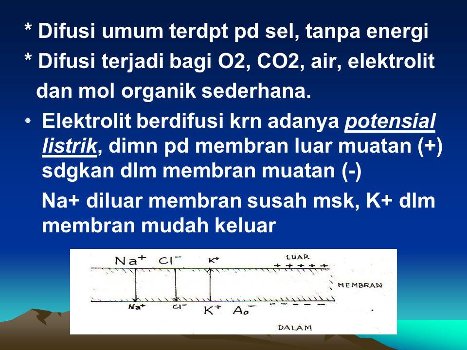 * Difusi umum terdpt pd sel, tanpa energi