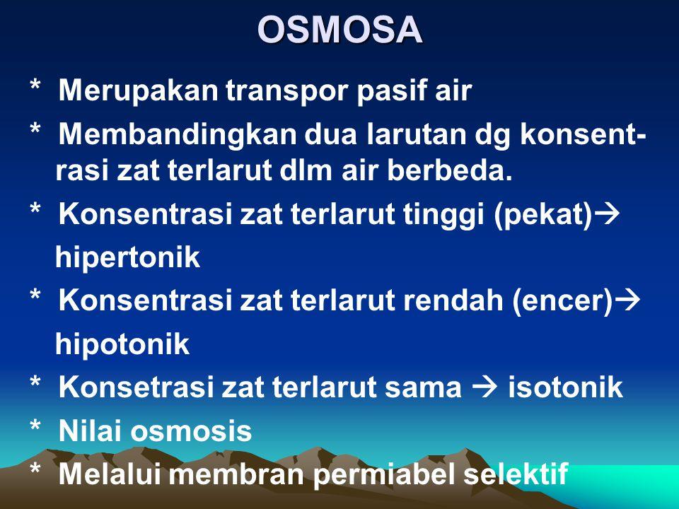 OSMOSA * Merupakan transpor pasif air
