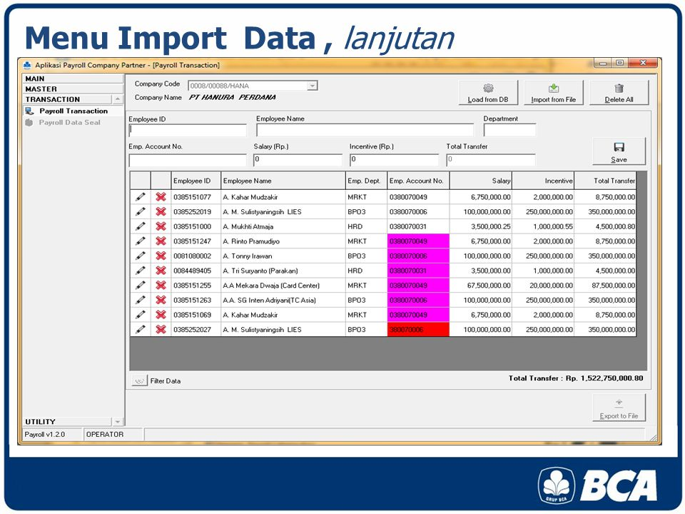 Menu Import Data , lanjutan