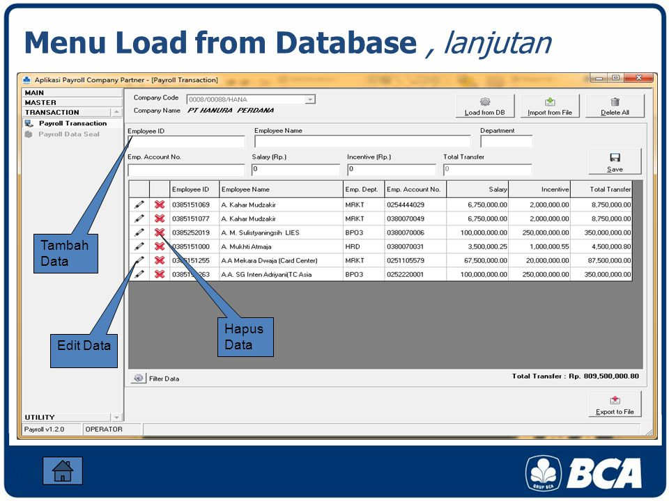 Menu Load from Database , lanjutan