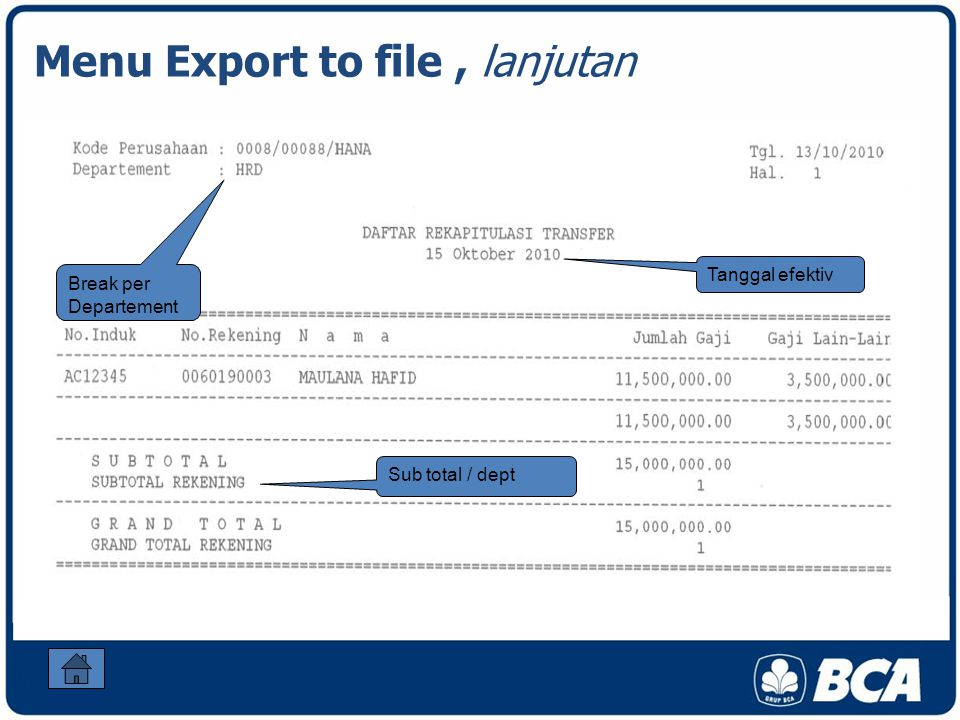 Menu Export to file , lanjutan