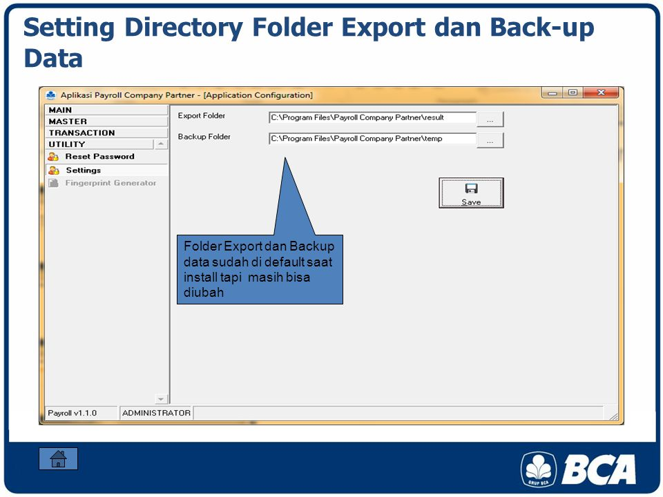Setting Directory Folder Export dan Back-up Data