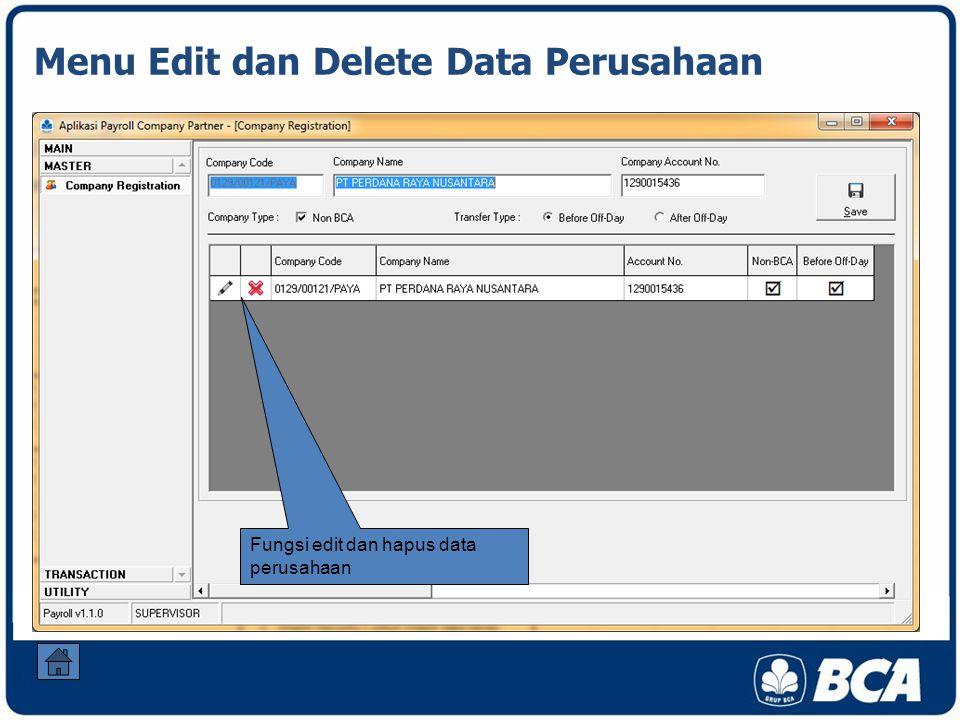Menu Edit dan Delete Data Perusahaan