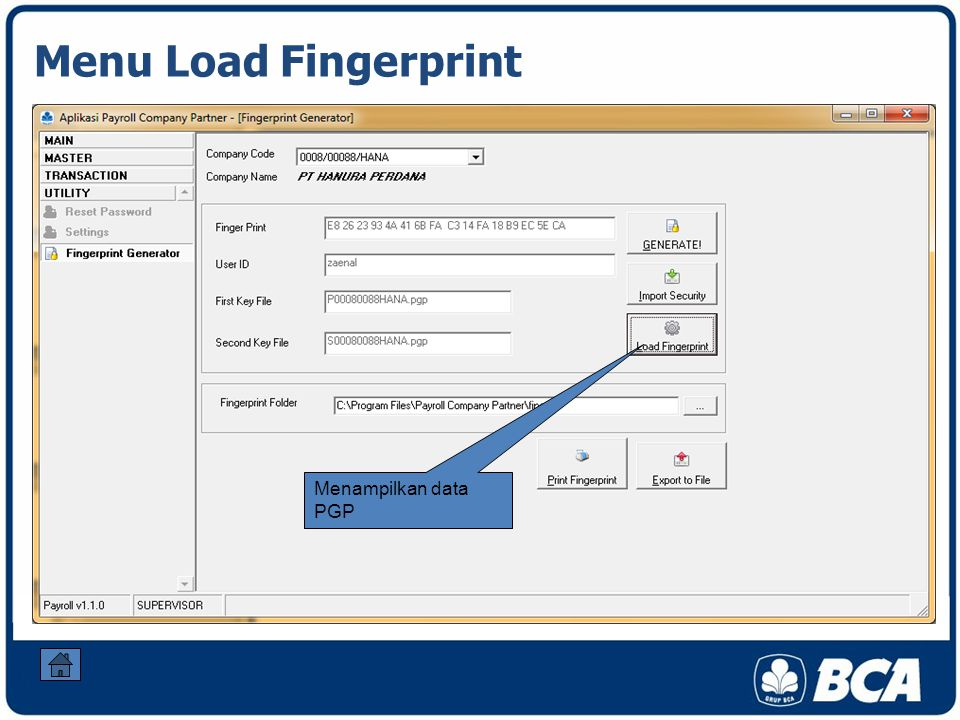 Menu Load Fingerprint Menampilkan data PGP