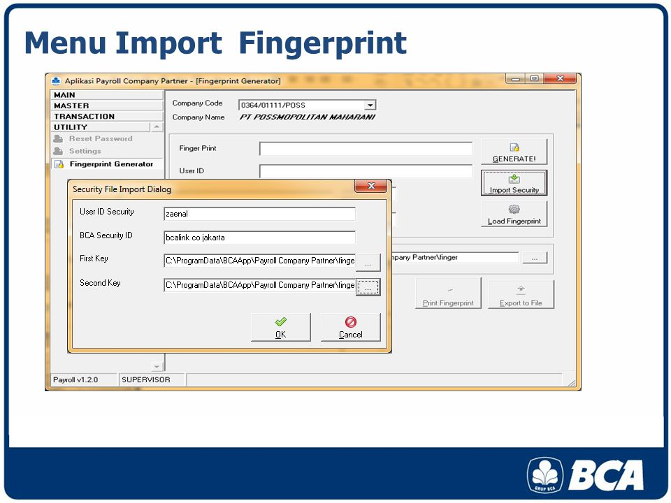 Menu Import Fingerprint