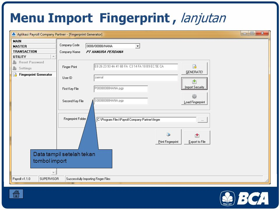 Menu Import Fingerprint , lanjutan
