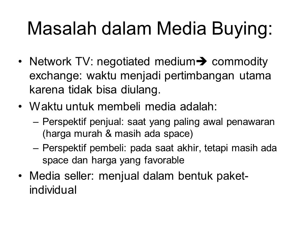 Masalah dalam Media Buying: