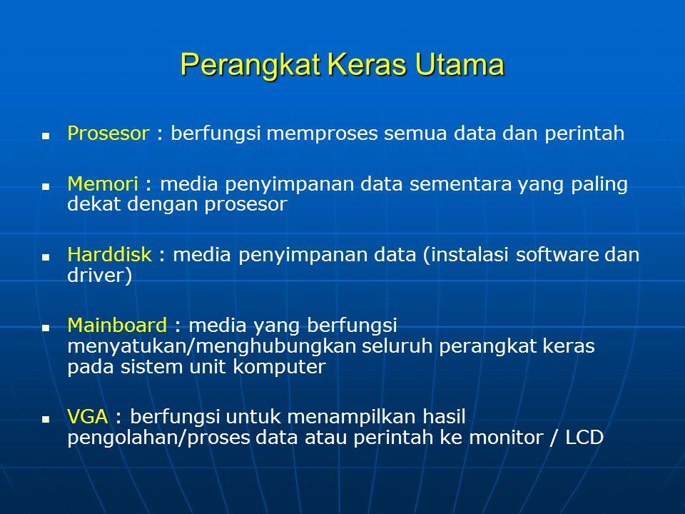 Perangkat Keras Utama Prosesor : berfungsi memproses semua data dan perintah.