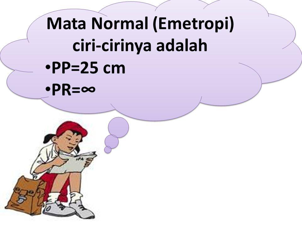 Mata Normal (Emetropi) ciri-cirinya adalah