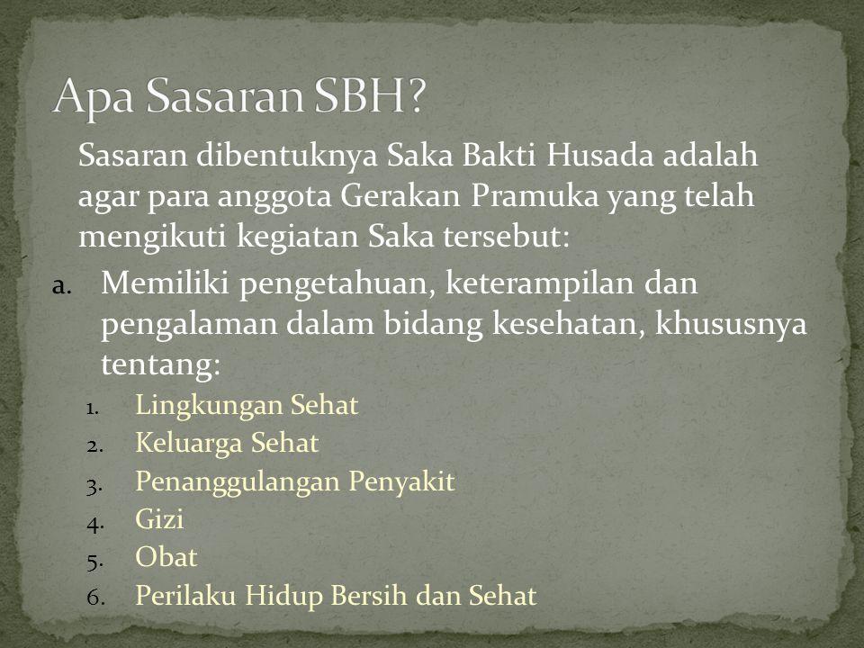 Apa Sasaran SBH Sasaran dibentuknya Saka Bakti Husada adalah agar para anggota Gerakan Pramuka yang telah mengikuti kegiatan Saka tersebut: